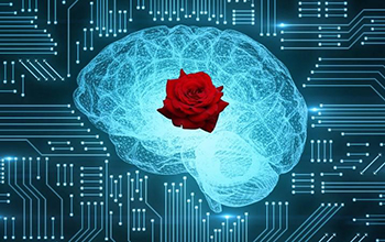 a brain with a rose
