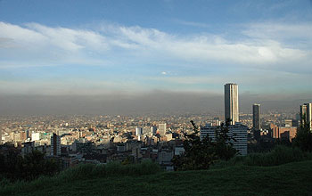 Photo of city skyline and pollution
