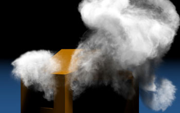 Illustration showing smoke enhanced by wavelet turbulence flows around a complex obstacle.