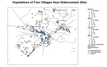 GIS map showing four communities in Kenya that are at high risk for schistosomiasis.
