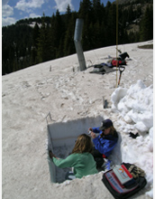 Photo of University of Utah researchers Annie Bruyant and McKenzie Skiles in Wolf Creek Pass, Colo.