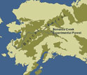 Map of Alaska showing the boreal forest and location of NSF's Bonanza Creek LTER site.