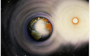 Illustration showing interactions between the Sun and the Earth.