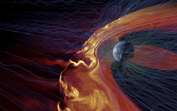 visualization showing solar plasma Interacting with Earth's magnetic field