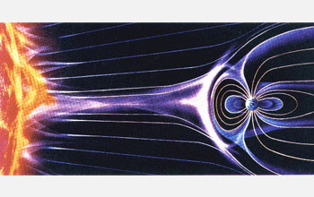 An artist's rendering of the solar wind as it streaks by Earth.