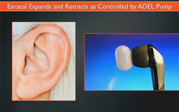 Graphic image showing a new ear bud and a human ear.
