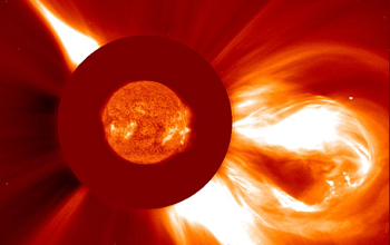 Image of a large coronal mass ejection observed by the SOHO spacecraft.