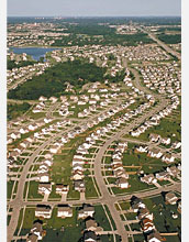 New study shows that divorce contributes to the type of urban sprawl shown here.