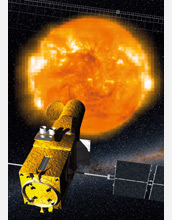 Illustration of the CoRoT satellite measuring the acoustic fluctuations of a star.