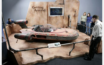 Photo of Luke Skywalker's Landspeeder, on display for the first time.