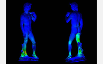 A front and back view of Michelangelo's David through the eyes of the Scan and Solve software.