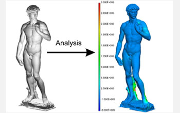 3-D scan of Michelangelo's David identifies where an object breaks due to stresses like gravity.