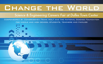Illustration showing a globe and the text Change the World Science and Engineering Careers