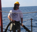 Researcher Sean Gulick works to set up experimental equipment in the Indian Ocean off Sumatra.