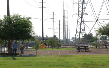 People ine Sherman Park, in a low-income Phoenix neighborhood, with very few trees