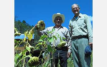 Photo of David Lentz with a Tarahumara sunflower gardener in Mexico.