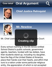 Screenshot of the ISCOTUSnow mobile app