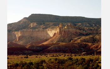 Photo showing the cliffs west of Ghost Ranch in New Mexico.