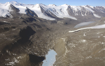 An aerial view of the Taylor Valley in the McMurdo Dry Valleys.