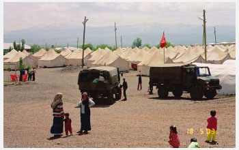 A military tent city housed survivors of the May 2003 earthquake in Bingol, Turkey.