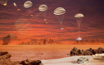 Illustration of the European Space Agency's Huygens probe descent to Titan's surface.