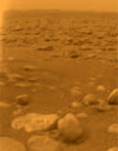 An image of rock-like objects on Titan's surface.