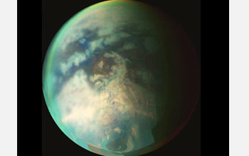 Image shows a composite visible/infrared view of Titan.