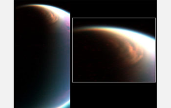 Image showing a composite visible/infrared view of Titan's North Pole as seen by Cassini.