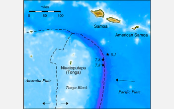 Map showing the location of the three quakes near Samoa, American Samoa and Tonga.