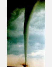 Photo of a tornado funnel cloud.