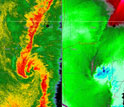 Radar image showing storm ciruclation associated with 15 or more tornadoes in the southeastern U.S.