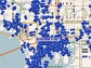 In a snapshot from a single carrier's network in Tampa, Fla., blue dots show active mobile phones.