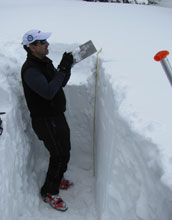 Paul Brooks collects snow samples