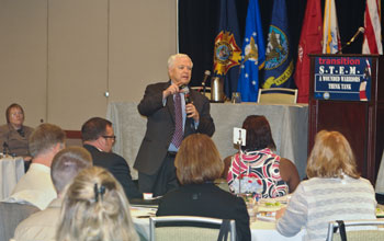 Photo of Ted Daywalt, President of VetJobs, giving a Keynote Address.