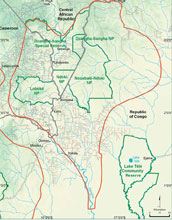 Map showing the location of Nouabale-Ndoki National Park.