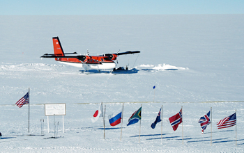 A Twin Otter aircraft at the South Pole