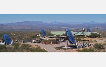Photo of VERITAS, the Very Energetic Radiation Imaging Telescope Array System.