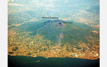 Photo shows the aerial view of the Somma-Vesuvius volcano.