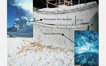 Photo shows the deposits from the A.D. 79 eruption in the archaeological site of Pompeii