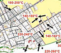 Photo shows map of Pompeii's buildings causing changes in direction and temperature of flows.