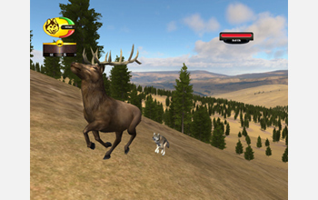 Computer screen capture of a wolf avatar attacking an elk.