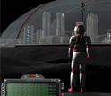 Computer screen capture of an avatar and a dome-topped virtual city on the moon's surface.