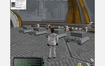 Computer screen capture showing virtual robots that deliver mail to lunar colonists.