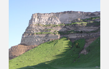 Photo of ancient volcanic ash beds exposed at Scotts Bluff in Nebraska.