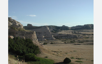 Photo of 31-15 million year old volcanic deposits lining Scotts Bluff National Monument, Nebraska.