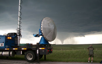 Photo of the Doppler-On-Wheels observing the Goshen County, Wyoming tornado.