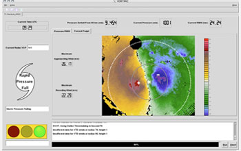 Screen capture of VORTRAC used to provide updates on hurricanes as they approach land.