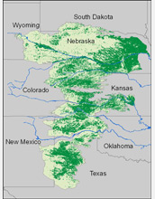 Map of High Plains Aquifer showing irrigated and dryland agriculture.