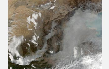 Satellite image showing China's Yellow River.