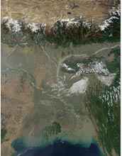 Satellite image of India's Ganges River pouring sediment into the Bay of Bengal.